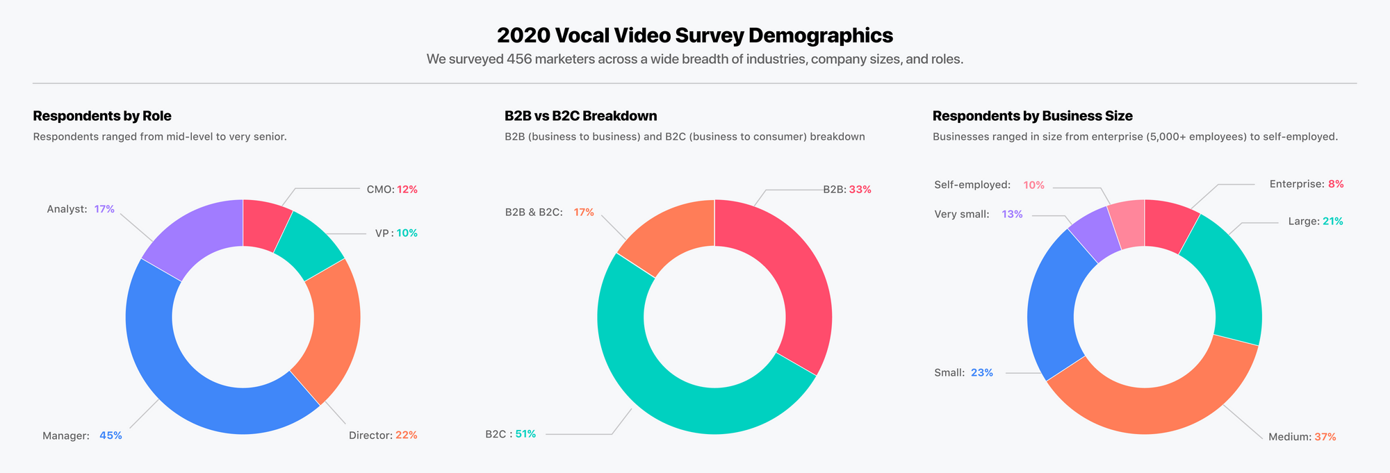 Demographics of 2020 Vocal Video Survey on the Impact of Testimonial Videos on Digital Marketing, respondents by role, b2c vs b2b, and business size