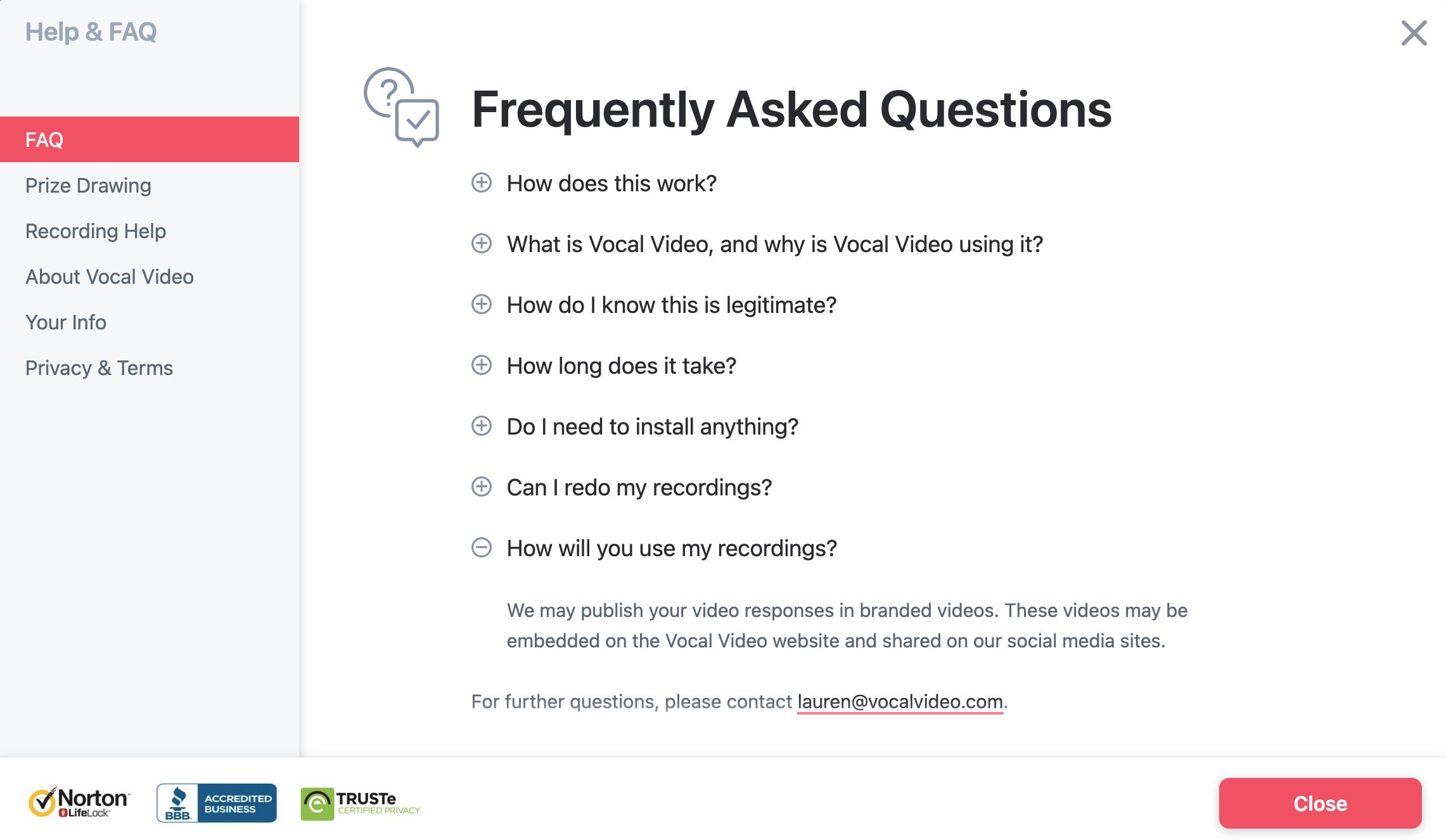 Vocal Video Collector FAQ