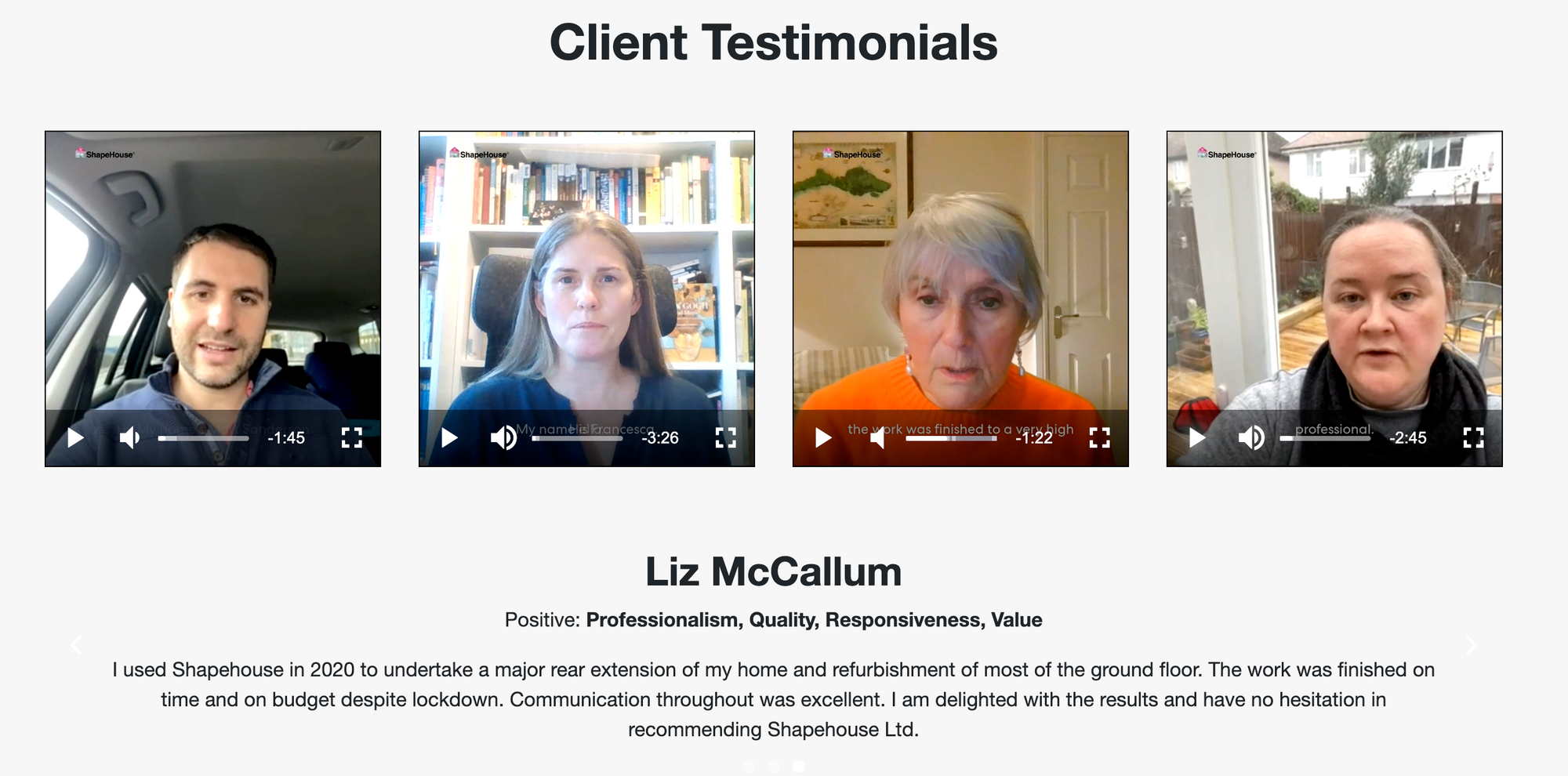 Photo of ShapeHouse embeds video testimonials on their homepage