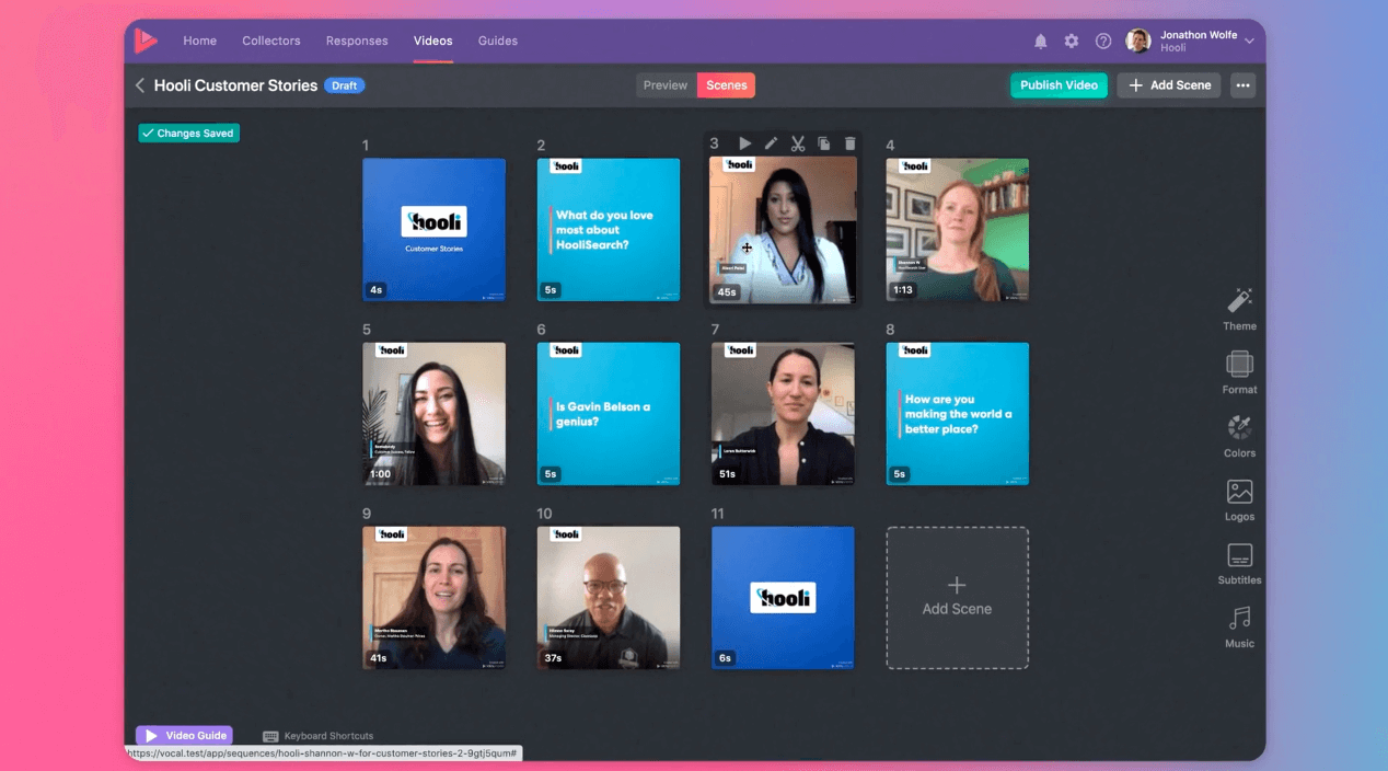 Vocal Video in action: A preview of what our platform looks like while editing and creating your own personalized video testimonial.  eo.