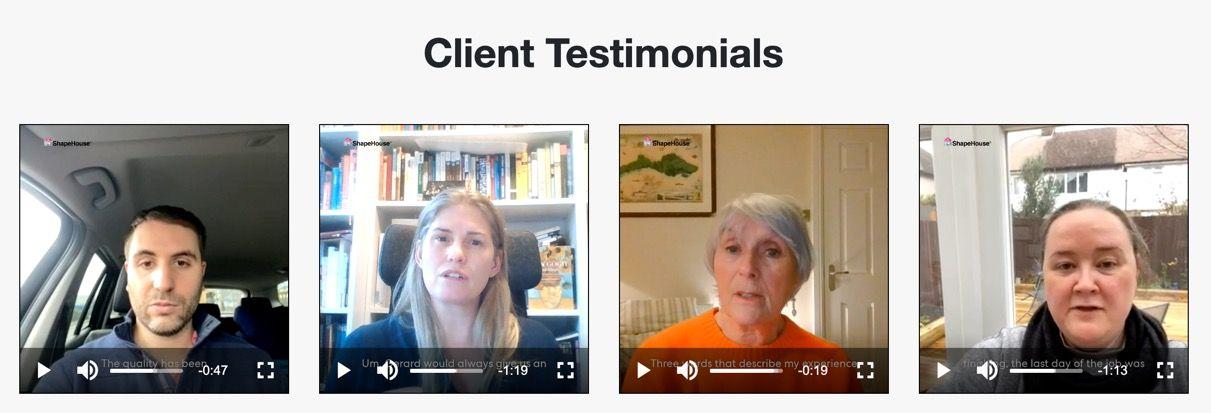 ShapeHouse customer testimonial video gallery