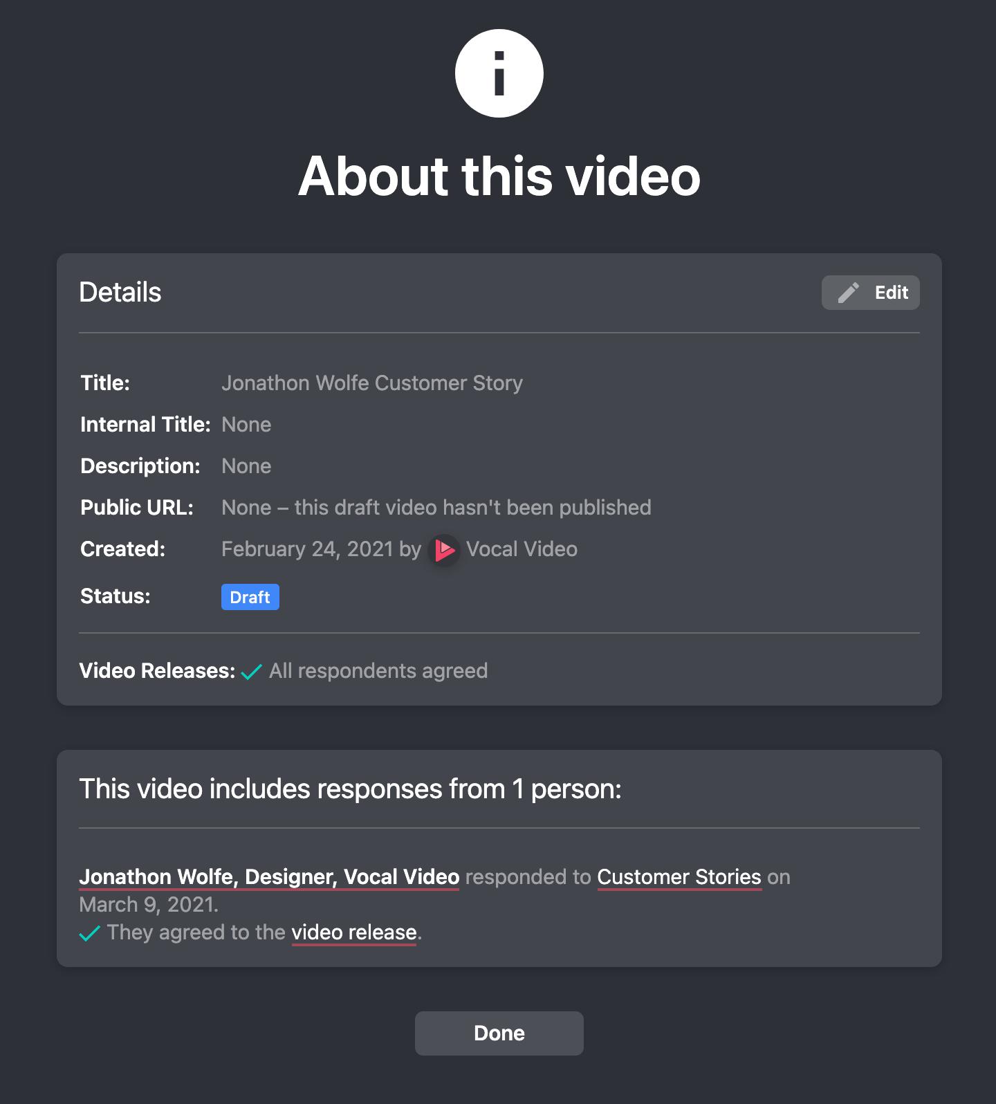 Video release details