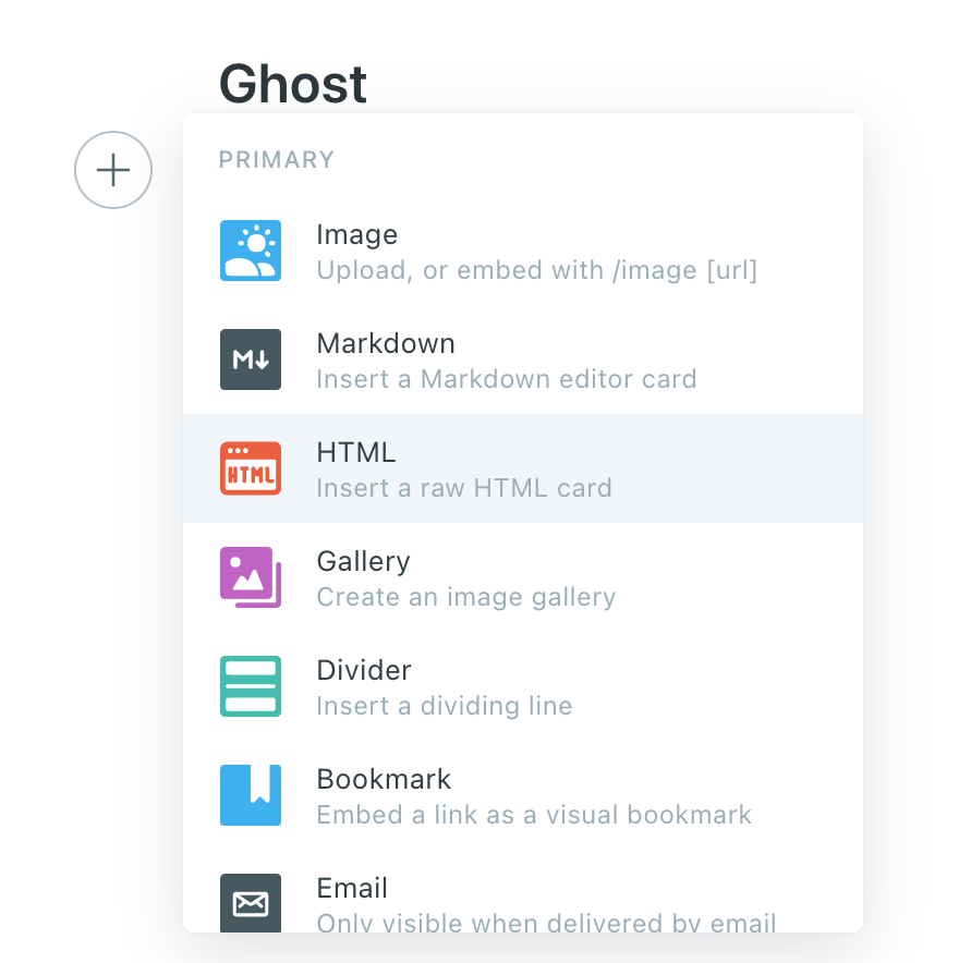 ghost html card