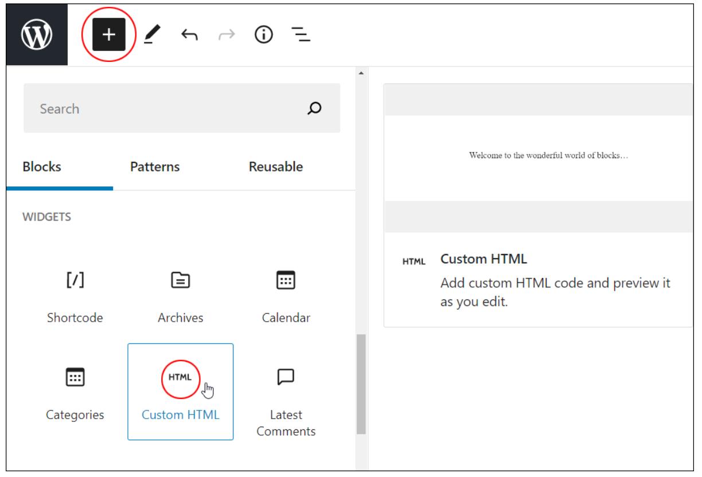 wordpress custom html block