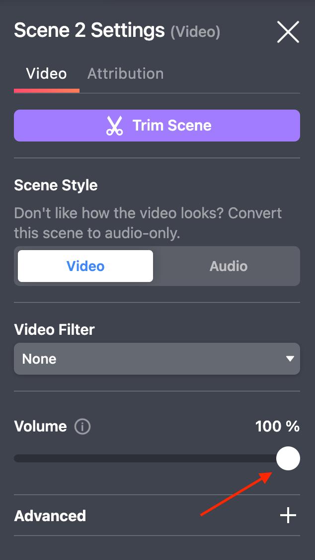 video scene volume