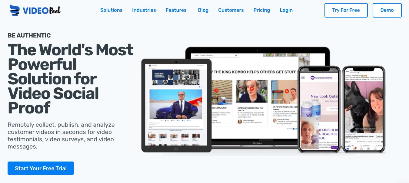 Videopeel's homepage