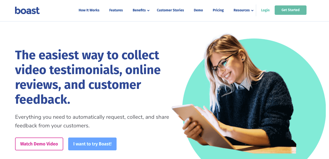 """Boast.io's homepage: """"The easiest way to collect video testimonials, online reviews, and customer feedback."""""""