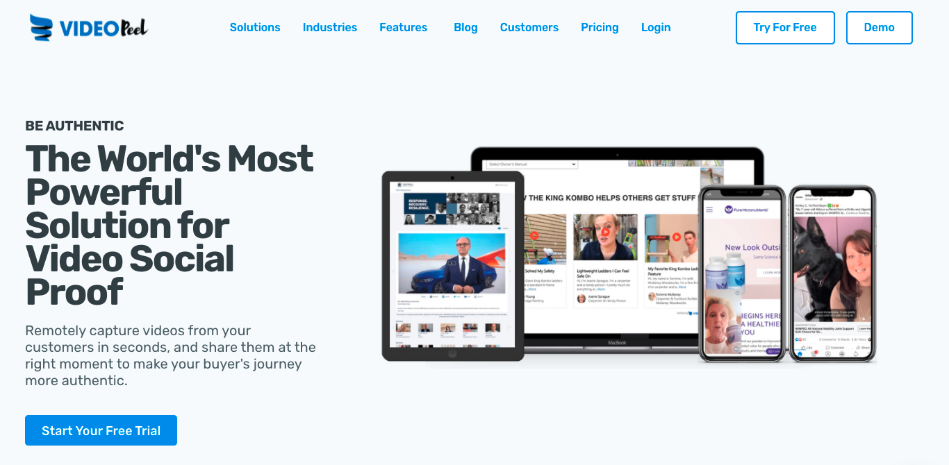 """VideoPeel's homepage: """"The World's Most Powerful Solution for Video Social Proof"""""""