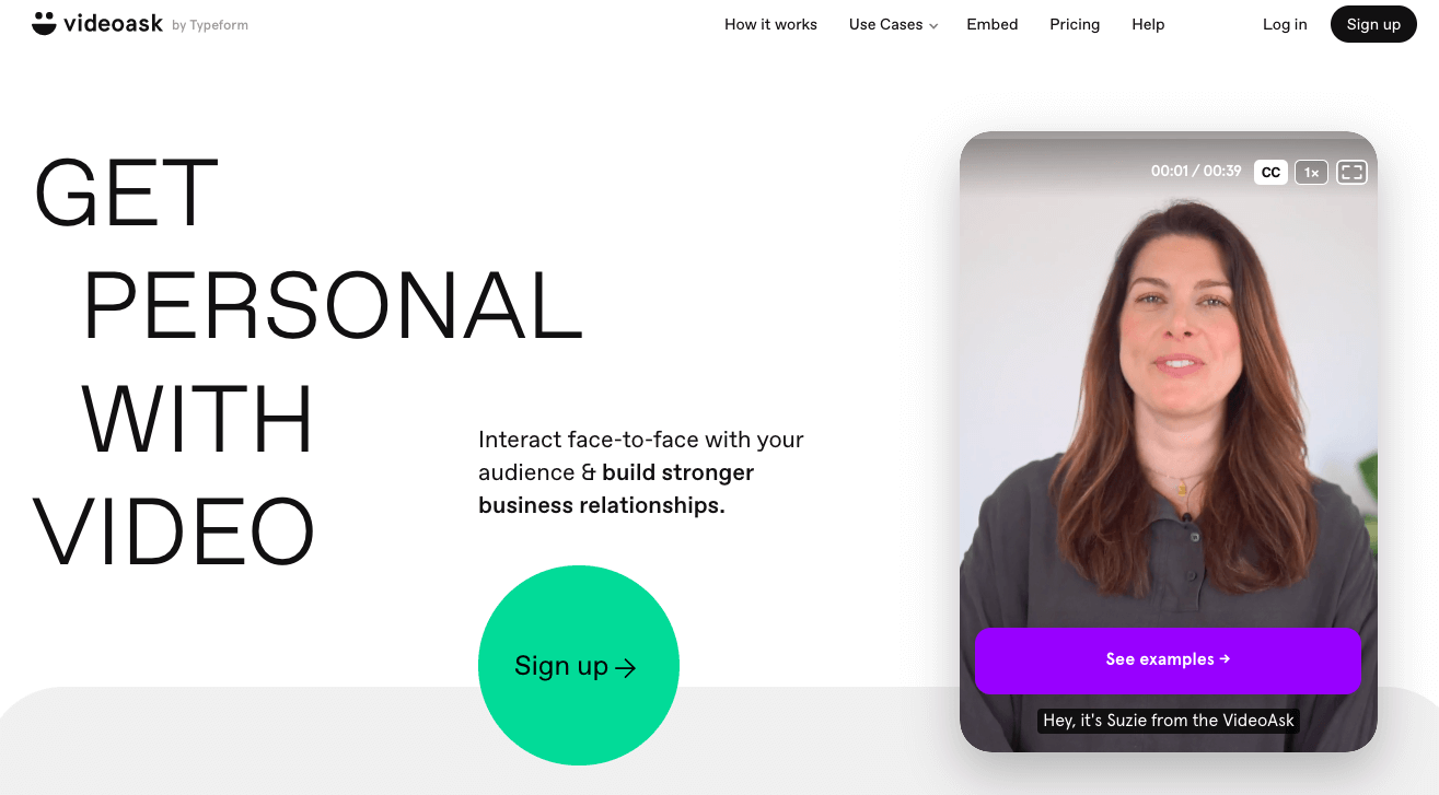 """VideoAsk's homepage: """"Get Personal with Video; Interact face-to-face with your audience & build stronger business relationships."""""""