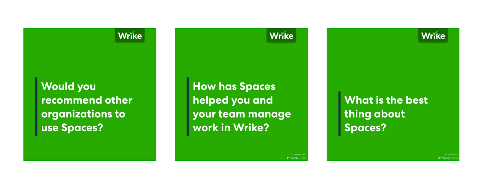 """Interstitial slides for Wrike: """"Would you recommend other organizations to use Spaces?"""" and """"How has Spaces helped you and your team manage work in Wrike?"""" and """"What is the best thing about Spaces?"""""""