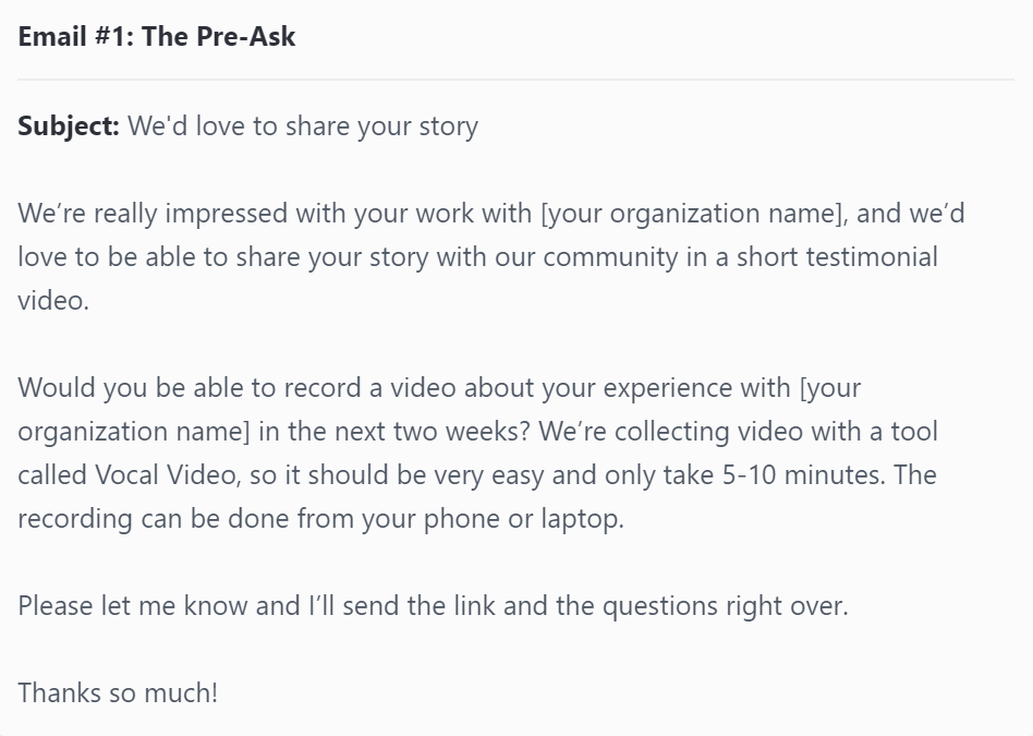 Email #1: The Pre-Ask