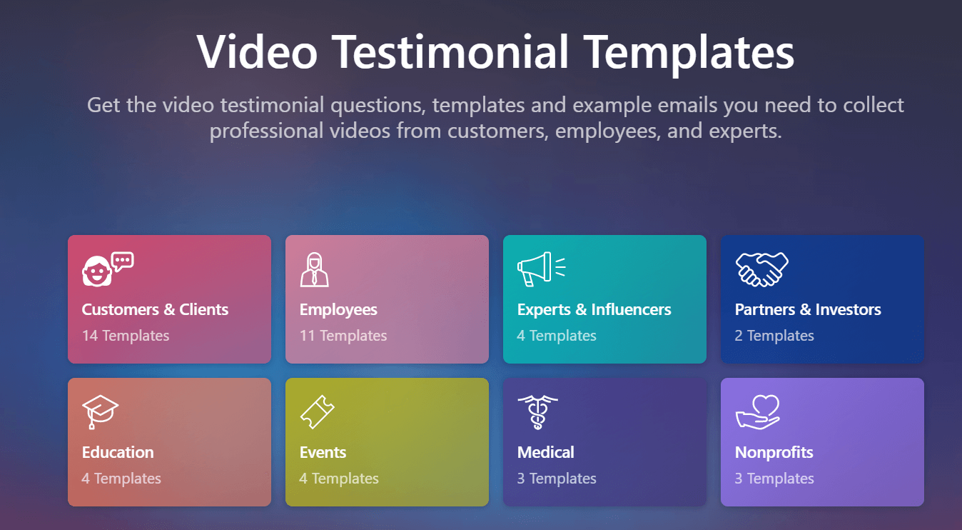 Vocal Video: Video Testimonial Templates - Get the video testimonial questions, templates, and example emails you need to collect professional videos from customers, employees, and experts.