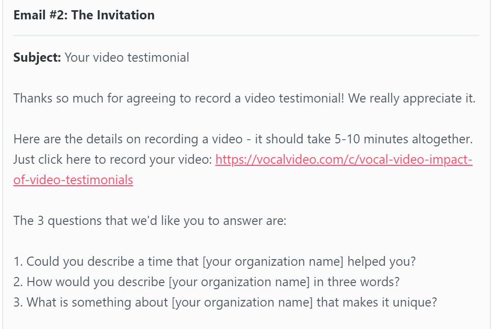 Email #2: The Invitation for a video testimonial