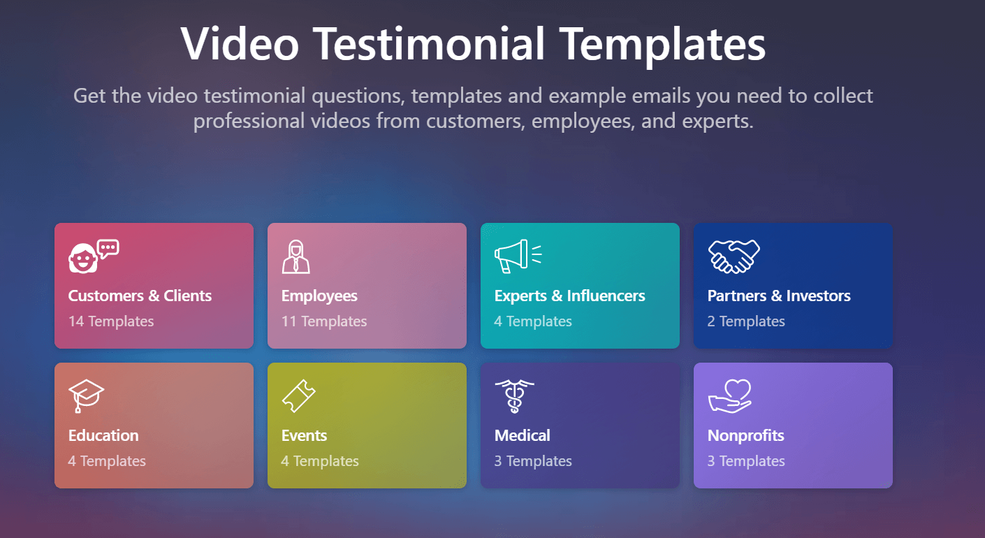 Vocal Vide's Video Testimonial Templates: Get the video testimonial questions, templates, and example emails you need to collect professional videos from customers, employees, and experts.