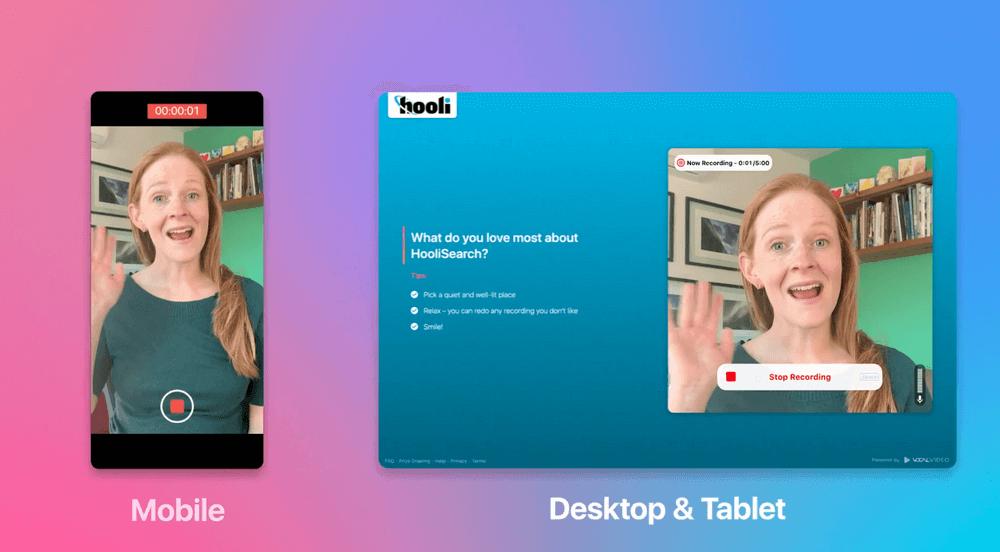 A preview of the Vocal Video platform on mobile, desktop & tablet.