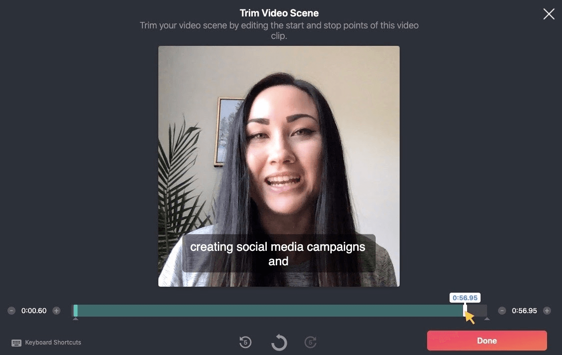 Trim Video Scene: Trim your video scene by editing the start and stop points of this video clip.