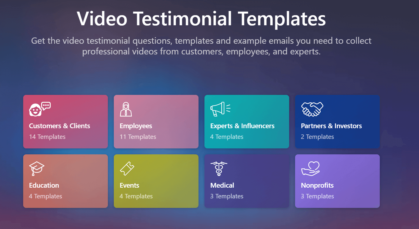 Video Testimonial Templates: Get the video testimonial questions, templates, and example emails you need to collect professional videos from customers, employees, and experts.