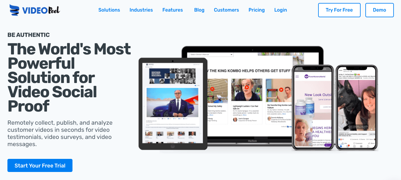 VideoPeel homepage: The World's Most Powerful Solution for Video Social Proof; Remotely collect, publish, and analyze customer videos in seconds for video testimonials, video surveys, and video messages.