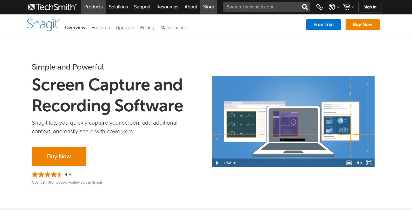 Snagit homepage: Screen capture and recording software; Snagit lets you quickly capture your screen, add additional context, and easily share with coworkers.