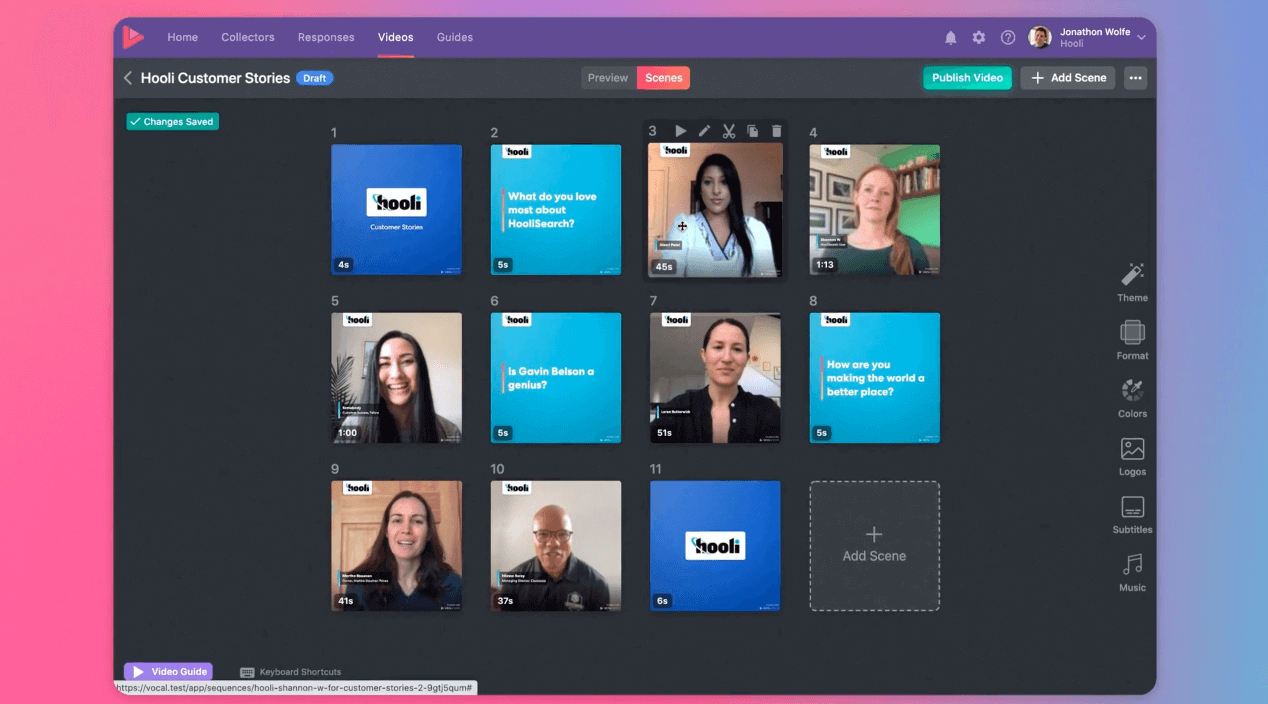 A preview of how easy it is to use Vocal Video to create video testimonials.