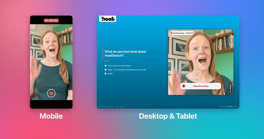 Vocal Video is easily accessible on mobile, desktop and tablet.