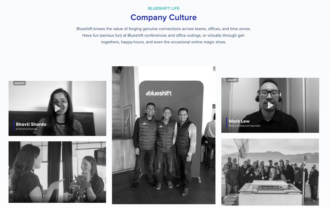 Blueshift company culture page with videos and photos.